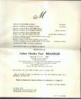 Faire Part Mortuaire BRASSEUR Valmy (1898-1975) Né à LA BOUVERIE Mort à UCCLE - Conseiller Communal Honoraire - Obituary Notices