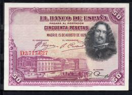 ESPAÑA 1928   50 PESETAS. DIEGO VELAZQUEZ  EBC   B867 - 50 Pesetas