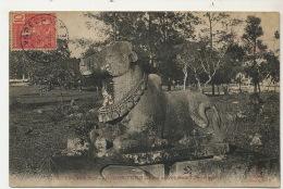 Ex Cambodge Angkor Thom Boeuf Sacré Nandi Art Khmer CP Voyagé Cachet Bateau Vapeur - Cambodge