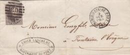N° 10 Margé / LAC Du 9 Oct 1862 De Marchienne Au Pont ( 8 Barres) Vers Fontaine L Eveque - 1858-1862 Medallones (9/12)