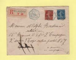 Villandry - Indre Et Loire - 31 Mars 1915 - Recommande - Obliteration Bleue - Recette Auxiliaire - Type Semeuse - Postmark Collection (Covers)