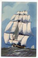 """Bateau-Voilier-signée Haffner--""""LA CHASSE -1er Empire"""" Collec De La Ligue Maritime Et Coloniale 14 X 9 éd AEC Paris - Sailing Vessels"""