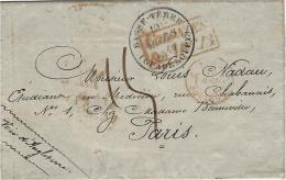 1849- Lettre De Basse-Terre ( Guadeloupe  + COLONIES / &c.ART.12 Encadré Rouge -taxe 15 D. Pour Paris ( Voie Anglaise ) - 1849-1876: Période Classique