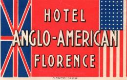 VIEILLE ETIQUETTE AUTOCOLLANTE ITALIE HOTEL ANGLO AMERICAIN A FLORENCE VINTAGE LUGGAGE LABEL - Etiquettes D'hotels