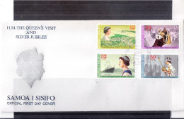 FDC Samoa I Sisifo - The Queen's Visit And Silver Jubilee - Complete Set (to See) - Samoa