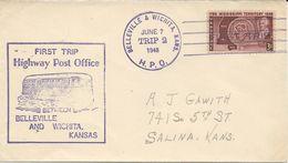 LETTRE  1948 AVEC CACHET FIRST TRIP HIGHWAY POST OFFICE BELLEVILLE AND WICHITA KANSAS - Post