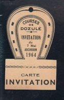 Ticket Ou Carte Entrée Courses Chevaux  / Invitation Aux Courses à L'Hippodrome De Dozulé Le 7 Mai 1964 - Biglietti D'ingresso