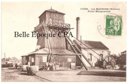 58 - LA MACHINE - Puits Margueritte +++++ Édit. Bouquerot / C. Lardier, #17092 / CLB +++++ 1937 ++++++ RARE / Wagons - La Machine