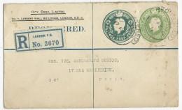 GB - 1919 - ENVELOPPE ENTIER POSTAL PRIVEE RECOMMANDEE De LONDON Pour PARIS - MODELE RARE - Entiers Postaux