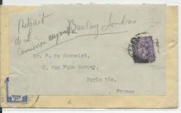 GB - 1946 - ENVELOPPE D' INDE ANGLAISE REUTILISEE Par ECONOMIE De LONDON Pour PARIS - Marcofilie