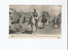 1914 OFFICIERS D'ARTILLERIE SERBE PARTANT POUR LA GARE - Serbie