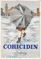 """04804 """"CORICIDIN SCHERING - NEL RAFFREDDORE COMUNE"""" ANIMATO, PAESAGGIO INVERNALE, OMBRELLO. CART. PUBBL. ORIGINALE - Pubblicitari"""