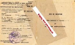 GUERRE 1939-1945- MILITARIA-  AVIS MUTATION-ROBERT SAUMARD-LIMOGES- SNCF 1944- 4 RUE DU PUY LANNAUD - Documents Historiques