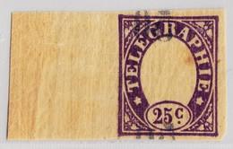 Schweiz Telegraphenmarke 1868 Probedruck 25c Violet Auf Hauchdünnen Papier Rückseitiger Nummern-Aufdruck - Télégraphe