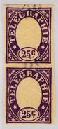 Schweiz Telegraphenmarke 1868 Probedruck 25c Lila Senkrechtes Paar Auf Hauchdünnen Papier Rückseitiger Nummern-Aufdruck - Télégraphe