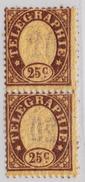 Schweiz Telegraphen-Marke 1868 Probedruck 25c Braun Senkrechtes Paar Rückseitig Aufdruck 20 Verkehrt - Télégraphe
