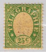 Schweiz Telegraphen-Marke 1868 Probedruck 25c Grün Auf Hauchdünnem Papier Mit Rückseitigem Nummern Aufdruck - Télégraphe