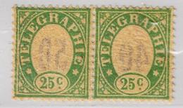 Schweiz Telegraphen-Marke 1868 Probedruck 25c Grün Waagrechtes Paar Auf Seidenpapier Mit Rückseitigem Nummern Aufdruck - Télégraphe