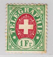 Schweiz Telegraphen-Marke Zu#3 * 1Fr - Weisses Papier - Télégraphe