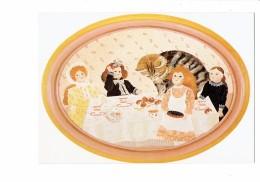 Cpm - Illustration Berthine Marceau - L'intrus - Fillette Poupée à Table Dinette Gâteaux - Chat Géant - Cats