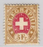 Schweiz 1868 Telegraphen-Marke Zu#4 * 3Fr -  Gummi Ev. Nicht Original - Télégraphe
