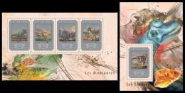 GUINEA 2014 - Dinosaurs, Minerals - YT 7558-61 + BF1751; CV = 45 € - Minerals