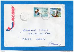 MARCOPHILIE-lettre Seychelles-cad 1982 Victoria- -2 Stamps-N°43 Charles+Diana+oiseaux-Pour Françe - Seychelles (1976-...)