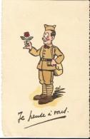 """CPA - ILLUSTRATION SOLDAT AVEC ROSE - """"JE PENSE A VOUS""""- DATEE DU 11.1.1940 - EDIT.V.P. CENSURE - 1939-45"""