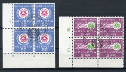Switzerland, United Nations European Office, 1963, UNCSAT Conference, FD Cancelled Margin Corner Blocks, Michel 38-39 - Service