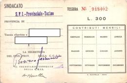 "04824 ""TESSERA C.G.I.L. - S.F.I. PROVINCIALE TORINO - ANNO 1961 NR. 918402"" ORIG. - Biglietti D'ingresso"