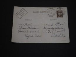 """FRANCE - Entier Postal Avec Oblitération """" Entrepôt De Vichy """" En 1942 Pour Paris - A Voir - L 1549"""
