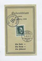 1938 Dt. Reich Österreichanschluss Gedenkblatt  Zum 13. März Ein Volk Ein Reich Ein Führer Mit Mi 650 Gest. Wien - Deutschland