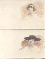 WOMEN'S  HATS SOMBREROS CHAPEAUS DESSIN DISEÑADOR NUDO OU NODO 2 CPAs CIRCA 1910 RARISIMES UNCIRCULATED TBE DOS DIVISE - Mode