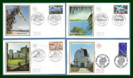 FDC Silk Soie Série Touristique 1970 N° 1644 /7 Complet Martinique Guadeloupe .... - FDC