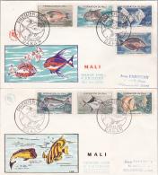 POISSONS - SERIE DU MALI Sur 2 Enveloppes FDC Obl DAKAR 5/3/1960 - Lettres - Fishes