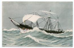 """Bateau-Voilier-signée Haffner--""""En Fuite """" Collec De La Ligue Maritime Et Coloniale 14 X 9 éd AEC Paris - Sailing Vessels"""
