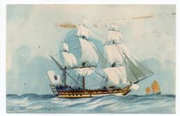 """Bateau-Voilier-signée Haffner-""""Vaisseau De La Cie Des Indes""""Collec De La Ligue Maritime Et Coloniale 14 X 9 éd AEC Paris - Sailing Vessels"""