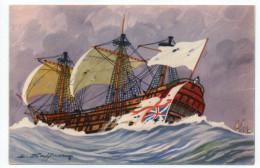 """Bateau-Voilier-signée Haffner""""Vaisseaux-Après La Capture""""Collec De La Ligue Maritime Et Coloniale 14 X 9 éd AEC Paris - Sailing Vessels"""
