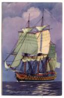 """Bateau-Voilier-signée Haffner"""" En Panne"""" Collec De La Ligue Maritime Et Coloniale 14 X 9 éd AEC Paris - Sailing Vessels"""