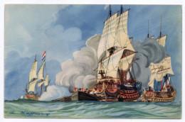 """Bateau-Voilier-signée Haffner""""Début Bataille De Bévéziers"""" Collec De La Ligue Maritime Et Coloniale 14 X 9 éd AEC Paris - Sailing Vessels"""