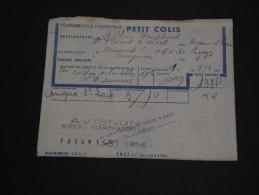 FRANCE - Colis Postal De Avignon En 1964 Pour Angers - A Voir - L 1559