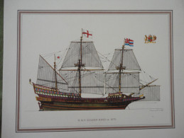 LITHOGRAPHIE - H.M.S. GOLDEN HIND Ca. 1570. DESIGNED BY H. A. MUTH - Lithographies