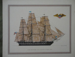 LITHOGRAPHIE - OLD IRONSIDE U.S.S. CONSTITUTION 1797. DESIGNED BY H. A. MUTH - Lithographies