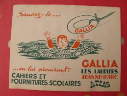 Buvard Gallia Atlas Jeanne D'arc Les Lauriers Cahiers Fournitures Scolaires. Vers 1950 - Papeterie