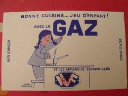 Buvard Bonne Cuisine Avec Le Gaz. Jeu D'enfant. Fix-masseau. Vers 1950 - Buvards, Protège-cahiers Illustrés