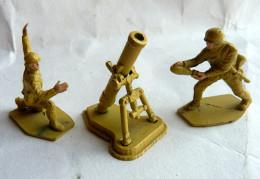 MORTIER EN METAL Avec 2 Figurines Soldats Allemands - Ancien - MARQUE INCONNUE Pas Dinky Toy ? - Army