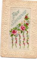 Carte Brodée.Bon Souvenir  Roses - Ricamate