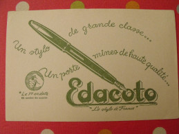Buvard Edacoto Stylo Porte-mine Vers 1950 - Stationeries (flat Articles)