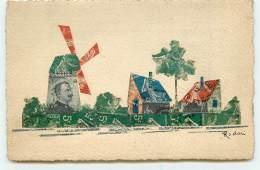 N°3671 - Collage De Timbres - Cut Stamps - Village Et Moulin - Timbres (représentations)