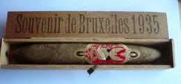"""RARE Et EXCEPTIONNEL  ! Superbe Cigare Collector Dans Coffret - SOUVENIR DE BRUXELLES 1935 - Bague  """"HABANA"""" ( 4 Scans) - Sigarenkokers"""